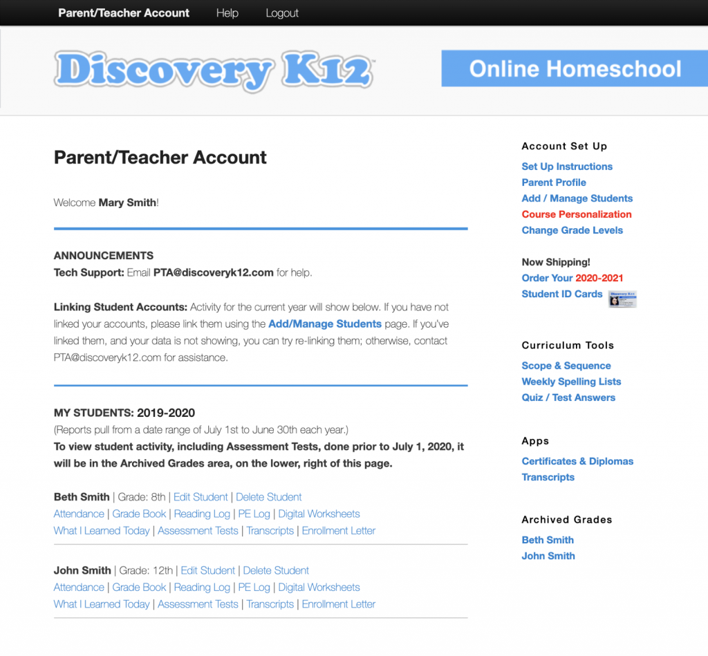 Discovery K12 Parent/Teacher Account